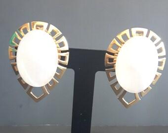 Art Deco Cabochon White Bakelite Earrings
