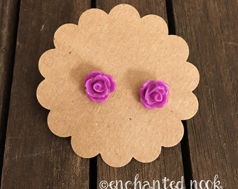 Purple Rose Earrings, Small Rose Earrings, Purple Flower Earrings, Purple Floral Earrings