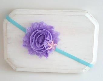 Lavender and Aqua Starfish Headband - Mermaid Cake Smash - Aqua Headband - Newborn Headband - Baby Headband - Starfish Hair Bows - Headbands