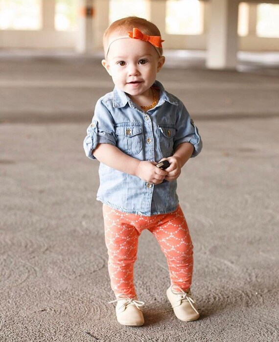 Coral Ripple Baby Leggings Coral Toddler Leggings Girly Leggings Cream and Coral Leggings Girl Baby Pants Baby Gift Coral Ripple Leggings