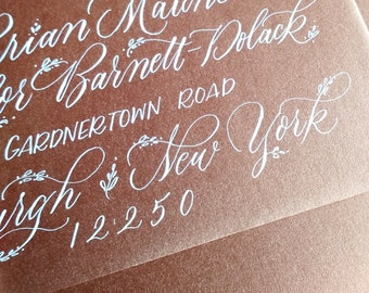 Floral Flourish Style; Wedding Envelope Calligraphy; Hand Addressed