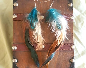 Aqua & Brown Feather Earrings