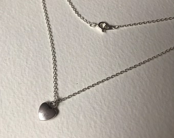 Handmade small heart charm necklace