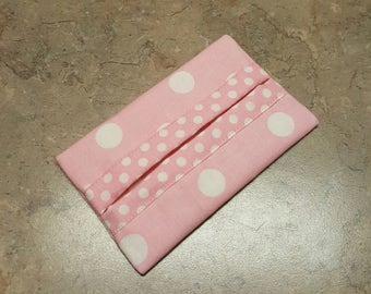 Pocket Tissue Holder, Travel Size Tissue Holder, Pink and White polka Dot Fabric, Fabric Tissue Holder