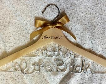 Mother of the Bride hanger,white date hanger,,Personalized Hanger,Custom hanger,wire name hanger,bride hanger
