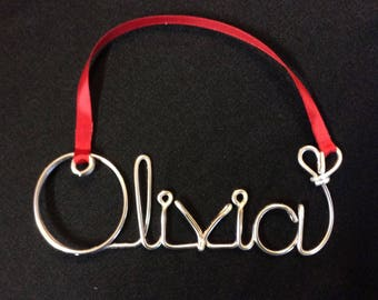 wire word ornament,Christmas Personalized Ornament,Olivia ornament,christmas ornament