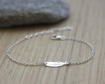 Sterling Silver Feather Bracelet 15mm  - Ethnic Bracelet - Minimalist Bracelet - Silver Bracelet - Silver Feather Bracelet