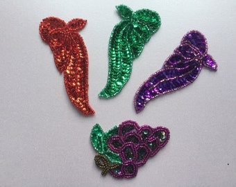 Sequin Patches Iron On Patches Sew On Patches Embroidered Applique Grape Patches Flourish Patches