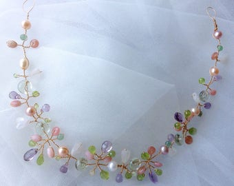 Amethyst Hair Vine, Moonstone Hair Piece, Pastel Bridal Headpiece, Bridal Hair Vine, Genuine Gemstones, Moonstone Headband, 11 Inches, AT01