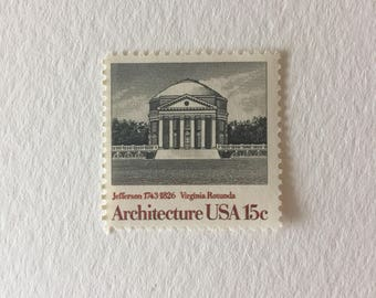 10 vintage 15c US postage stamps - Architecture Virginia Rotunda 1979 - neutral Black and white gray scale - unused