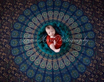 Digital Backdrop Newborn Photography Prop (Blue Mandala)