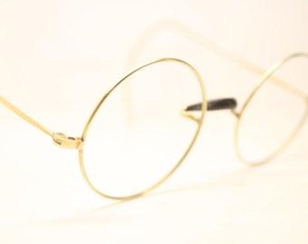 Antique Round Gold Tone Windsor Eyeglasses