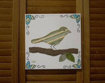 Bird on Branch #4 Fabric Wall Art