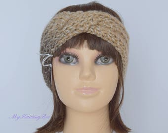 Hand Knit Ear Warmer in Multi Color Beige
