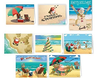 Beach Christmas Card Variety Pack - 24 Cards & Envelopes - Assortment #1 - 81