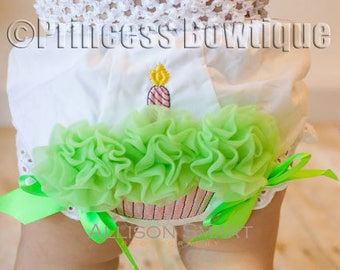first birthday diaper cover, birthday bloomers, birthday diaper cover, birthday nappy cover, smash the cake bloomer, Lime Diaper Cover
