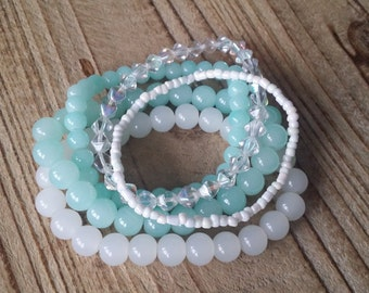 Bracelet set mint green and white