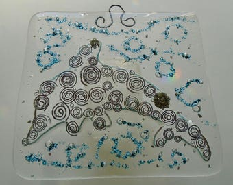 Fused glass dolphin with spirals plaque
