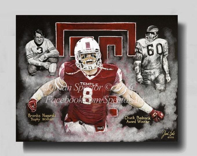 Tyler Matakevich Art Print - Temple Owls - Temple University - Temple Dorm Decor - Wall Art- Man Cave - Temple Football - Gift Ideas
