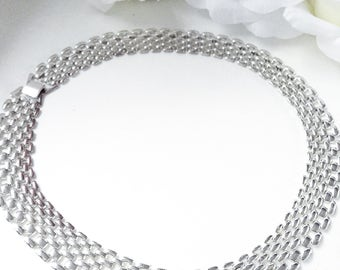Silver Necklace, For Her,  Silver Necklace. Choker Necklace, Vintage Jewelry, Vintage Necklace, Wide Link Necklace, VIntage Silver Choker