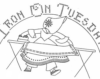 Sunbonnet Sue Pattern Hand Embroidery 7 Days of the Week Kitchen Decor Vintage Embroidery PDF Digital Download