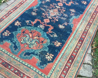 "4'10""x8' Antique Anatolian Turkish Rug"