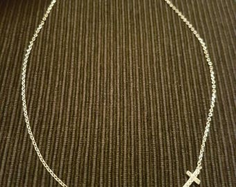 Sterling silver evil eye and cross necklace