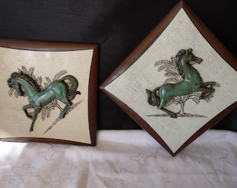 Burwood Products Set 2 (Pair) Western Arabesque Wood Sculptured Carved ARABIAN HORSE Wall Plaques.. Free USA Shipping