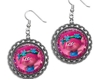 New! TROLLS Movie POPPY Glitter 3D Bottle Cap Earrings (Choose Any Shop Image!)