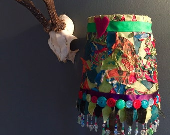 Quirky lampshade with beaded and button detailing trim // bohemian // fabric decoupage