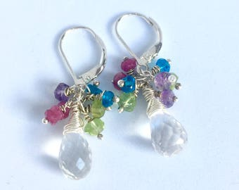 Clear Quartz drop earrings, multi-colour gems earrings, Bridal earrings, Mother of the bride, Bridesmaids earrings, gift for her, Wedding