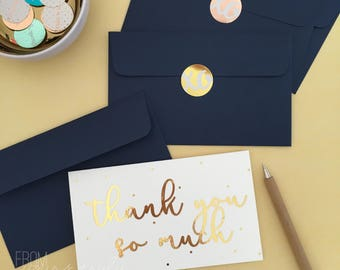 Gold Foil Greeting Card: Thank you so much (pk-1)