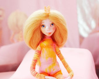 Dress up doll Collectible doll pixi doll children birthday heirloom doll Princess doll boho doll happy bright gift sunny posable art doll
