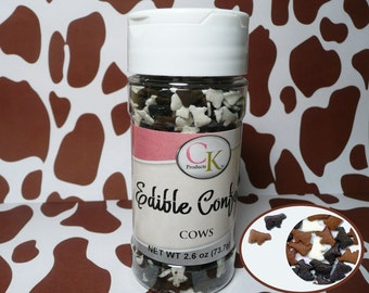 Cows 2.6 oz.  Edible Confetti Sprinkles Cake Pops Cupcake Cookies Farm Farmer Quins
