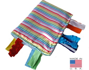 Baby Jack Rainbow Educational Sensory Blanket Lovey with Ribbon Tabs Made in USA