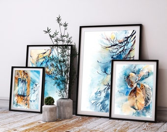 Abstract Nature Art Prints Set, Sky Blue and Golden Prints, Set of 4 Fine Art Prints, Watercolor Painting Art, Leaves and tree branches set