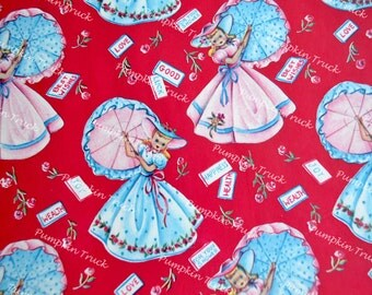 Vintage Wrapping Paper - 1940s Southern Belles with Umbrellas Shower - Full Unused Sheet
