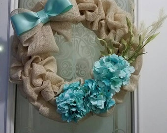 Light Blue and Cream Burlap Wreath