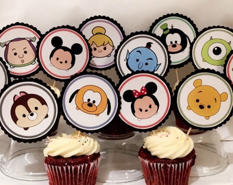 Tsum tsum birthday cupcake toppers