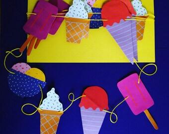 Ice cream wedding paper garland, party decor, room decor;