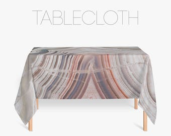 Agate Tablecloth, Mineral Photography, Abstract Kitchen Art, Kitchen Linens, Photo Printed Fabric Tablecloths