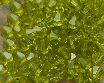 Swarovski 4mm Bicone Faceted Crystal Beads - LIGHT OLIVINE - Select 10, 20, 50 or 100