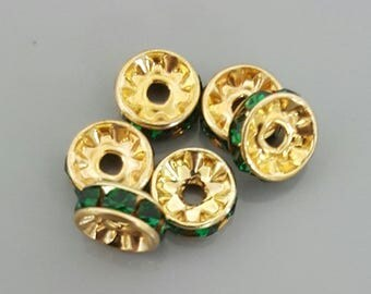 8mm Rhinestone Rondelle, Gold with Emerald Crystals, made in Czech Republic - 6 Pieces