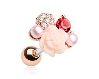 Rose Gold Blossom Rose Sparkle Cartilage Tragus Earring
