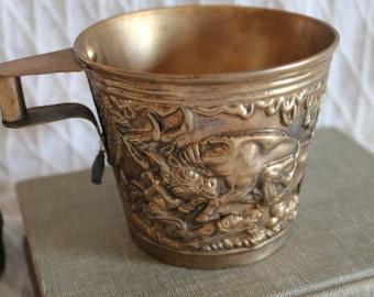 1965 Greek Replica of Ancient Minoan Vaphio Cup - Brass Souvenir of Greece