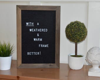"""Original Letterboard Pop-Over Frame. Fits all 12"""" x 18""""  letter boards. Smooth,  Brown Stain. Dress up your letterboard"""
