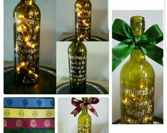 Happiness can be found quote Dumbledore Harry Potter inspired collectible art wine bottle light wedding table centrepiece