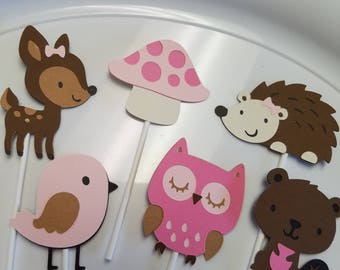 Woodland cupcake toppers, woodland birthday, woodland party, woodland baby shower, owl cupcake toppers