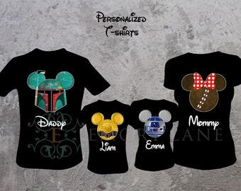 Star Wars Inspired Custom T-shirts, Boba Fett, R2-D2, C-3PO, or Girl Wookiee, Disney Vacation,  Family Matching Shirts