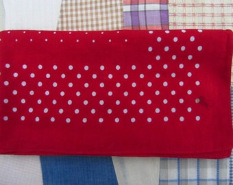 Vintage Bandana Red White Polka Dots Cotton AS IS